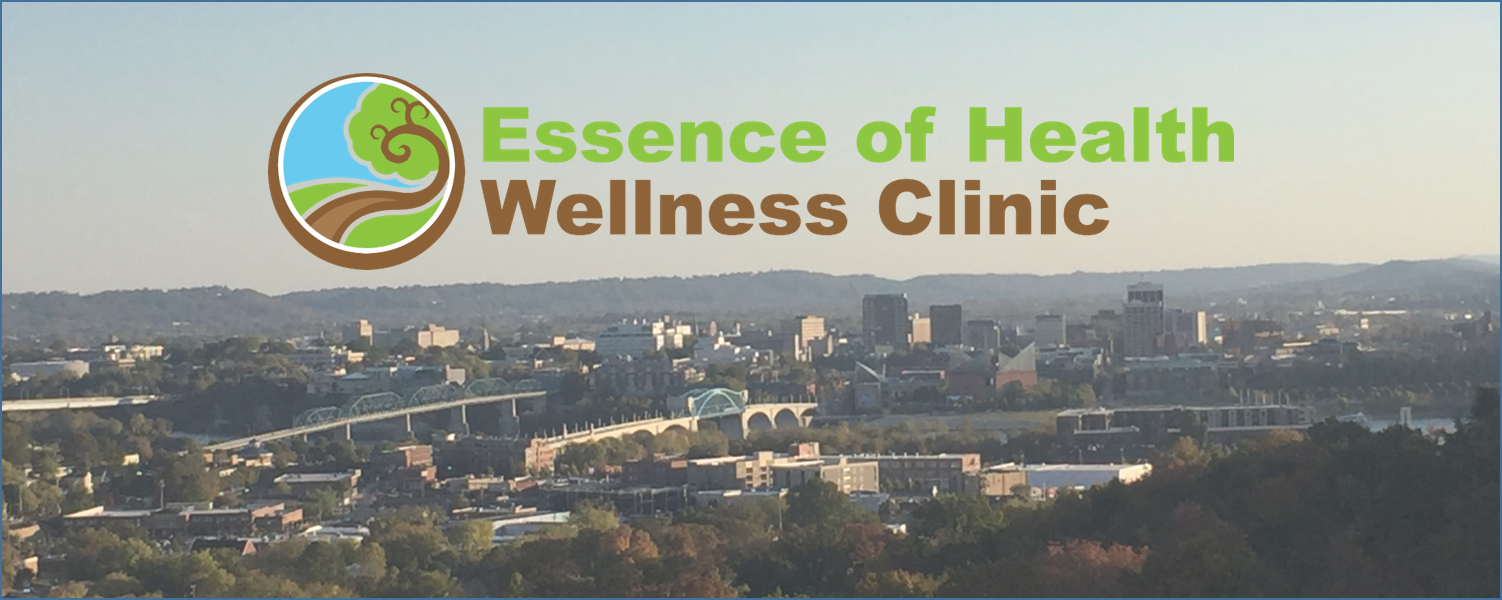 Chattanooga from stringers ridge with Essence of Health Wellness Clinic logo